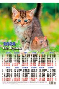 20009 Том и Джерри - 2020 (Листовой настенный календарь формат А3)