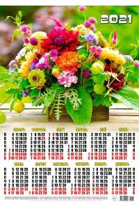 000031 Дачный букет - 2021 (Листовой календарь, формат А2)