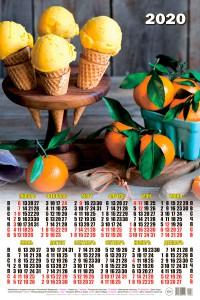 000033 Мороженое - 2020 (Листовой календарь А2)