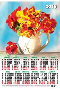 00065 Цветы - 2018 (Листовой календарь А2)