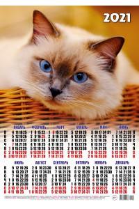 01003 Голубоглазый - 2021 (Листовой календарь, формат А2)