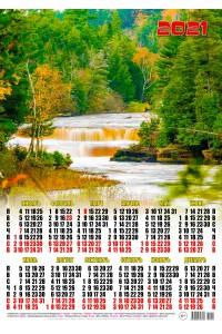00021 Река в лесу - 2021 (Листовой календарь А2)