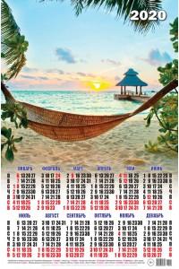 00024 Пляж - 2020 (Листовой календарь А2)