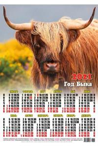 00007 Лохматый - 2021 (Листовой настенный календарь формат А2)
