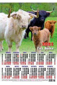00008 Семейка - 2021 (Листовой настенный календарь формат А2)