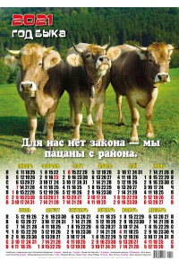 00013 Пацаны - 2021 (Листовой настенный календарь формат А2)