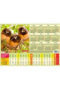 007 Табель календарь, Три Совы - 2020  (Листовой календарь формат А4, учет рабочего времени)