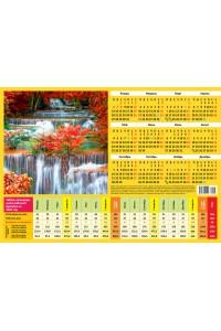008 Табель календарь, Водопад - 2020  (Листовой календарь формат А4, учет рабочего времени)