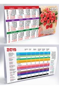 011 Табель календарь домик, Розы - 2019  (Настольный календарь, учет рабочего времени)