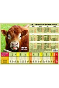 00006 Табель календарь, Языкастый - 2021  (Листовой календарь формат А4, учет рабочего времени)